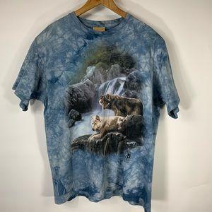 Vintage Tie Dye T Shirt XL Blue Wolves 80s 90s